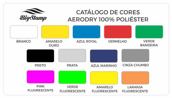 Tabela de Cores SoftDry BIG STAMP Camisetas