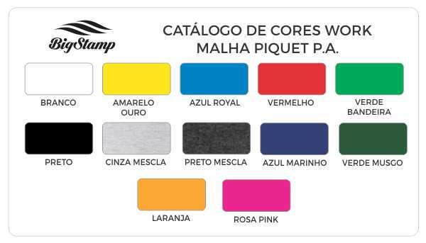 Tabela de Cores Malha Fria Modelo Work BIG STAMP Camisetas